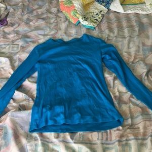 Girl's Solid Blue Long Sleeve Tee